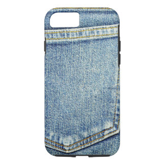 デニムのジーンズのポケット青い生地のスタイルのファッションの金持ち iPhone 8/7ケース