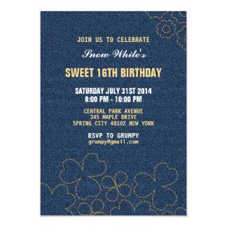 デニムのジーンズ花パターン誕生日の招待状 カード