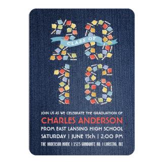 デニムのパーティの招待状の2016年の卒業の帽子 カード