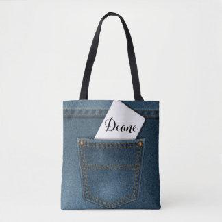デニムのブルー・ジーンズのポケット トートバッグ