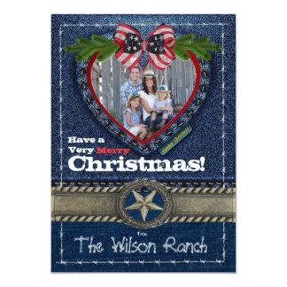 デニムのプリントのカウボーイの写真のクリスマスカード カード