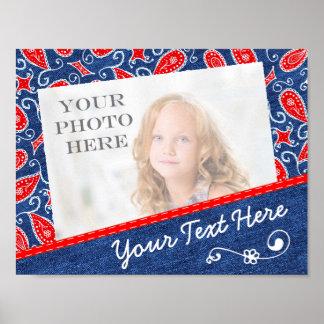 デニムのペイズリーのかわいい花の赤く白いおよびブルー・ジーンズ ポスター