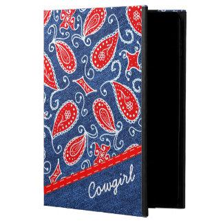 デニムのペイズリーのかわいい花の赤く白いおよびブルー・ジーンズ POWIS iPad AIR 2 ケース