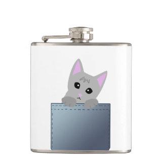 デニムのポケット絵の灰色の子ネコ フラスク