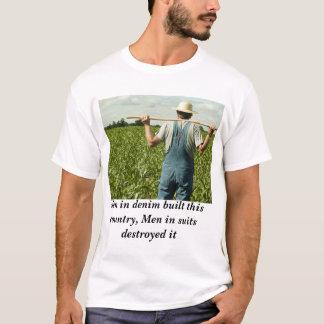 デニムの人は破壊されたスーツで人を造りました Tシャツ
