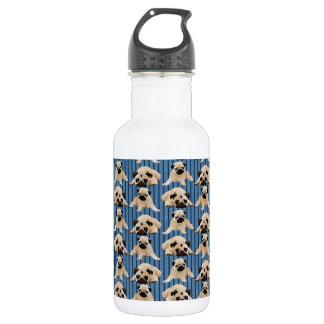 デニムの小さいパグは縞で飾ります ウォーターボトル