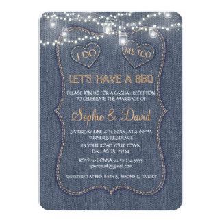 デニムの青いひもライト私はBBQをします カード