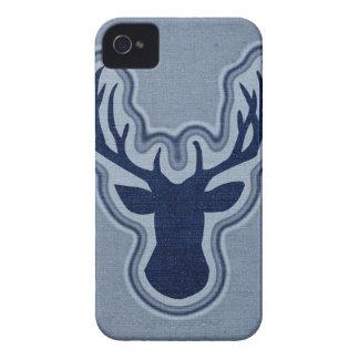 デニムの青いキャンバスの白熱シカ Case-Mate iPhone 4 ケース