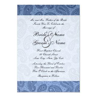 デニムの青いペイズリーの結婚式招待状 カード