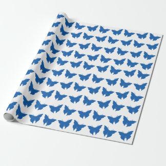 デニムの青くはっきりしたでモダンな蝶 ラッピングペーパー