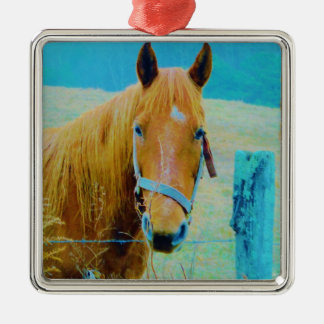 デニムの青によって染められる馬 メタルオーナメント