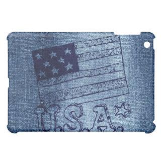 デニムの青の愛国心が強い米国の旗 iPad MINIケース