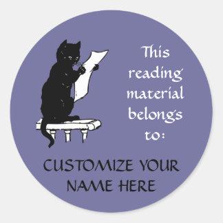 デニムの青の読書猫の蔵書票のステッカー ラウンドシール