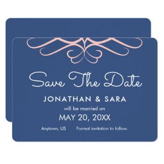 デニムの青、エレガントな保存のローズクォーツ日付 カード
