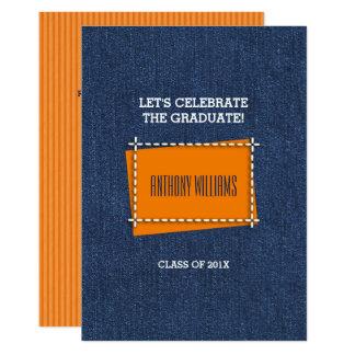 デニムパターンカスタムな卒業のパーティの招待状 カード