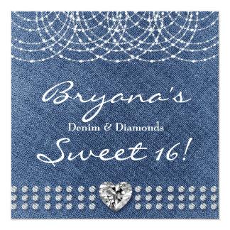 デニム及びダイヤモンドのハートのグリッターの菓子16の招待状 カード