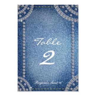 デニム及びダイヤモンドの誕生会のテーブル数カード カード