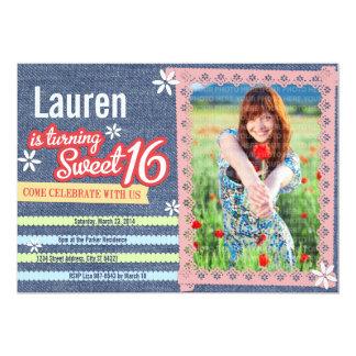 デニム及びピンクのレースの菓子16の写真の招待状 カード