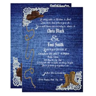 デニム、ブーツ及びレースの結婚式の招待 カード