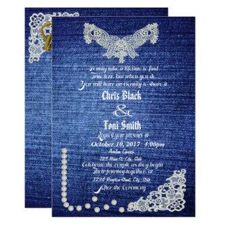 デニム、真珠及びレースの結婚式の招待 カード