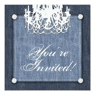 デニムnのダイヤモンドの結婚式招待状のシャンデリアのLt カード