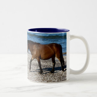 デボン遠隔南浜のDartmoorの子馬の歩く ツートーンマグカップ
