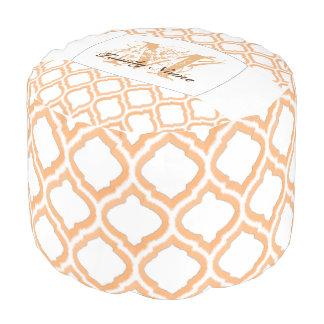 デュオ調子のモロッコの格子垣(オレンジ) プーフ