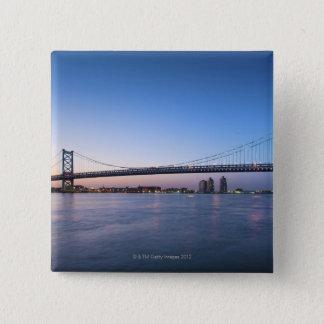 デラウェア川のベンフランクリン橋 5.1CM 正方形バッジ
