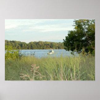 デラウェア川フィラデルヒィアのボート ポスター