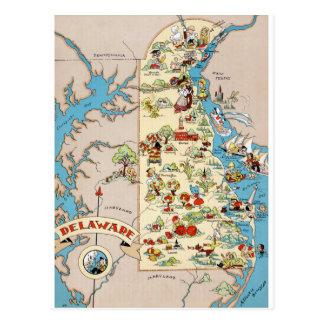 デラウェア州おもしろいなヴィンテージの地図 ポストカード