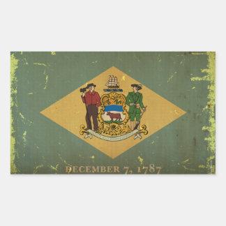 デラウェア州州の旗VINTAGE.png 長方形シール