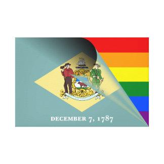 デラウェア州旗のゲイプライドの虹 キャンバスプリント