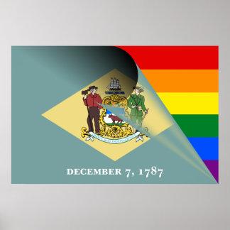 デラウェア州旗のゲイプライドの虹 ポスター
