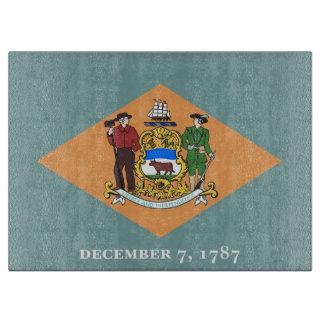 デラウェア州、米国の旗を持つガラスまな板 カッティングボード