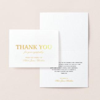 デラックスな悔やみや弔慰のサンキューカードの金ゴールドホイル 箔カード