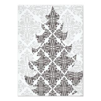 デラックスな白黒ダマスク織のクリスマスツリー カード