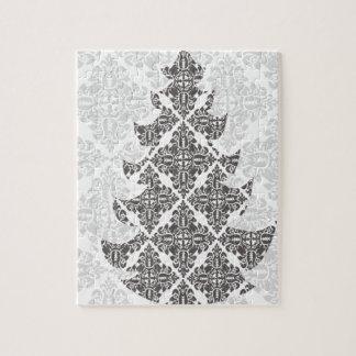 デラックスな白黒ダマスク織のクリスマスツリー ジグソーパズル
