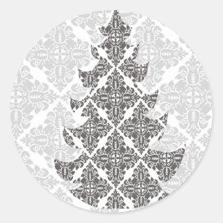 デラックスな白黒ダマスク織のクリスマスツリー ラウンドシール