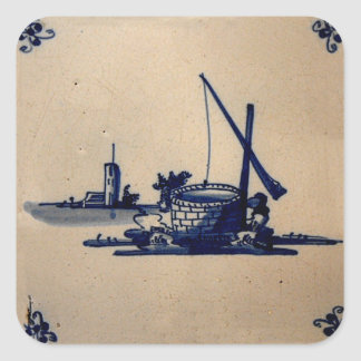 デルフトのクラシックな古書売買の青いタイル-井戸 スクエアシール