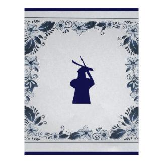 デルフトのデルフトの青いタイルの風車「de Roos」 レターヘッド