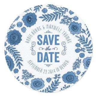 デルフトの青い水彩画の花は日付を救います カード