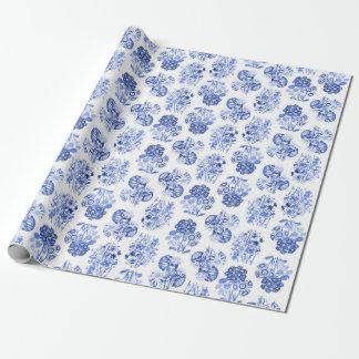 デルフトの青い花の包装紙 ラッピングペーパー