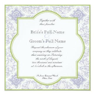デルフト青いToileのクローバー-結婚式招待状 カード