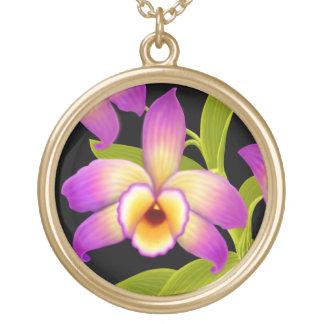 デンドロビウムのNobileの蘭の花のネックレス ゴールドプレートネックレス