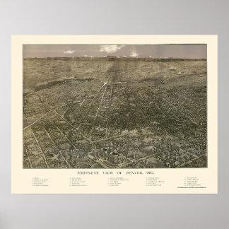 デンバーのCOのパノラマ式の地図- 1887年 ポスター