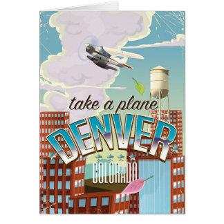 デンバーコロラド州の漫画旅行ポスター カード
