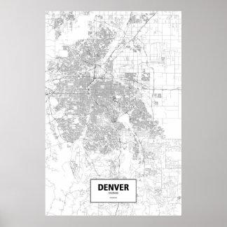 デンバー、コロラド州(白の黒) ポスター