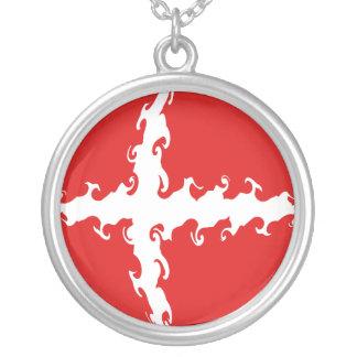 デンマークのすごい旗 シルバープレートネックレス