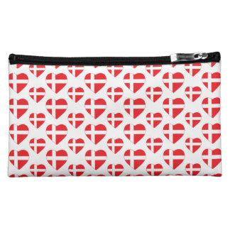 デンマークのハートの形の旗 コスメティックバッグ