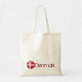 デンマークの光沢のある円形の旗 トートバッグ
